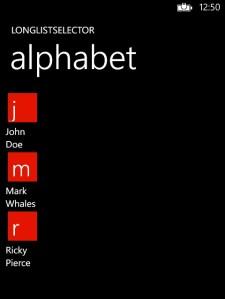 LongListSelector Alphabet