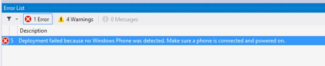 No Windows Phone Detected - Error Deploy