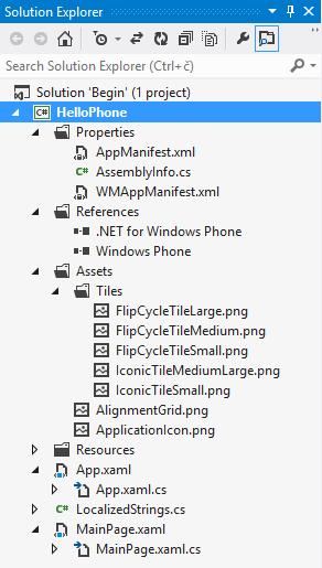 Solution Explorer menampilkan aplikasi HelloPhone