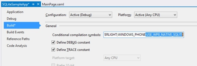 Conditional compilation symbols