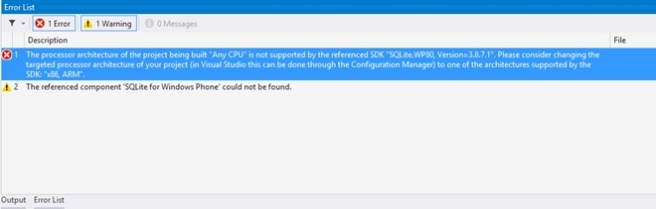 """The processor architecture of the project being built """"Any CPU"""" is not supported by the referenced SDK """"SQLite.WP80, Version=3.8.7.1""""."""