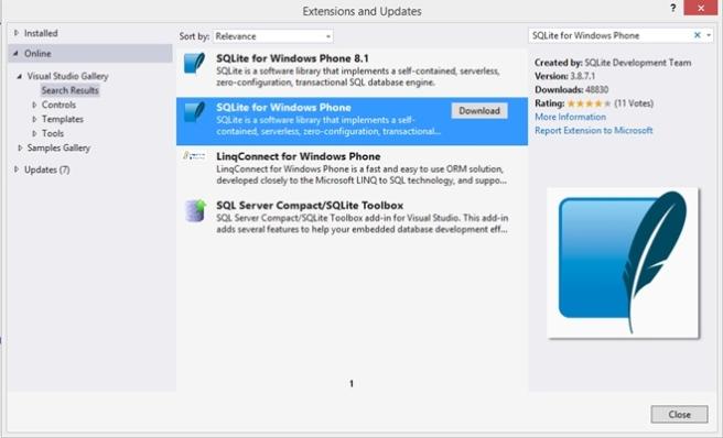 SQLite for Windows Phone
