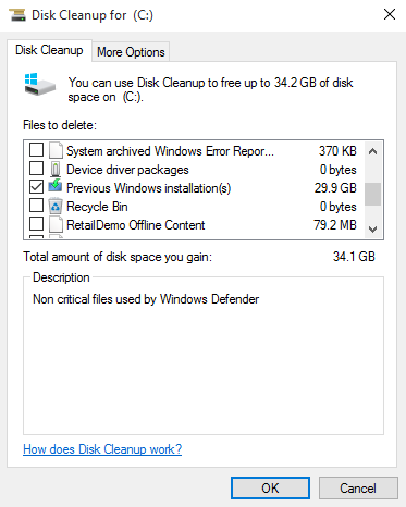 Disk Clean Up for C