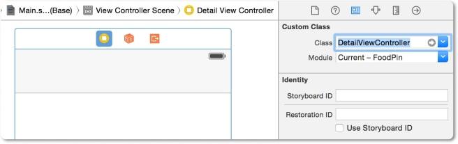 Assign custom class untuk detail view Controller