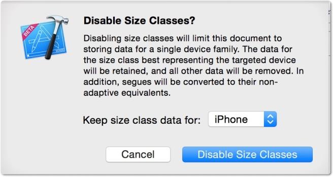 Disable size classes