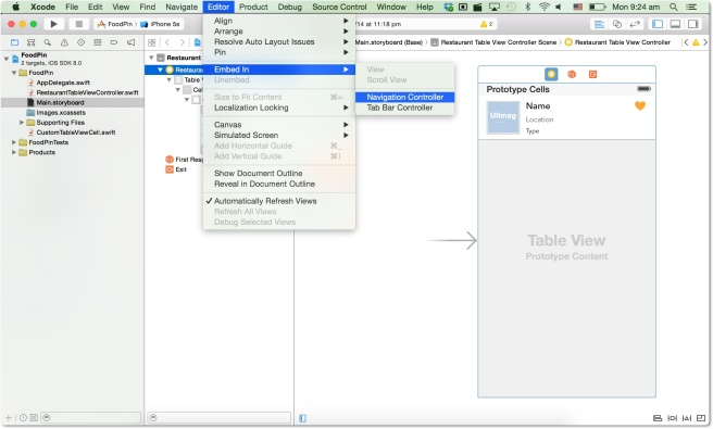 Embed table view controller di navigation controller
