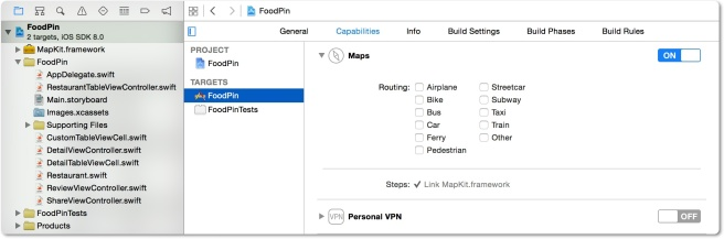 Enable Maps di project Xcode