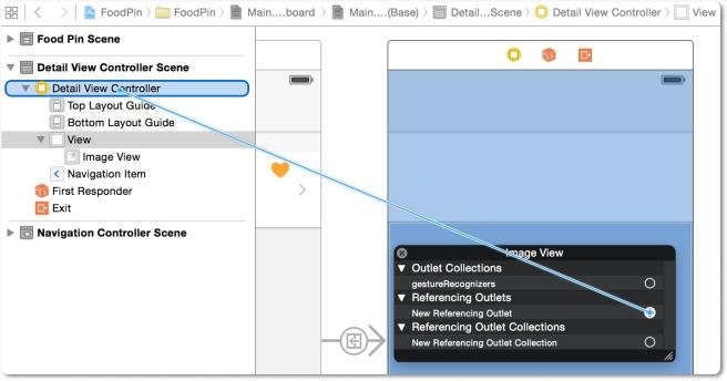 Establish koneksi antara image view dengan outlet variabel