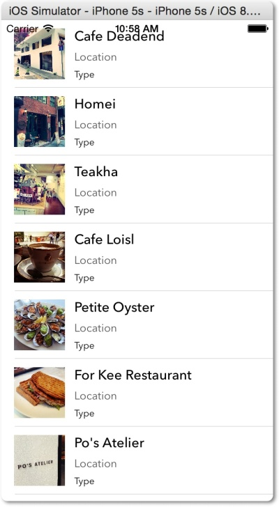 FoodPin dengan custom table view cell