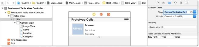 Memasang custom class di prototype cell