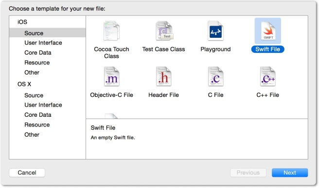 Membuat class baru menggunakan template Swift