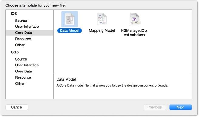 Membuat model data menggunanan template Data Model
