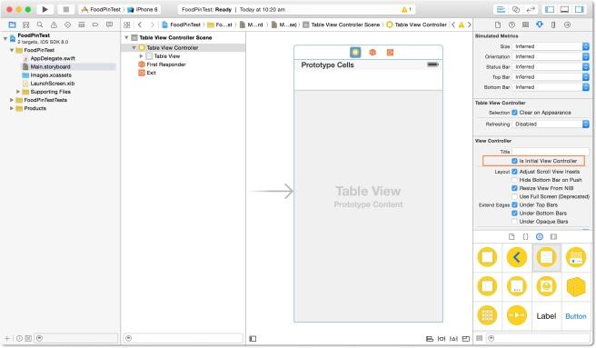 Memindahkan Table View Controller dari Object Library dan menjadikannya Initial View Controller