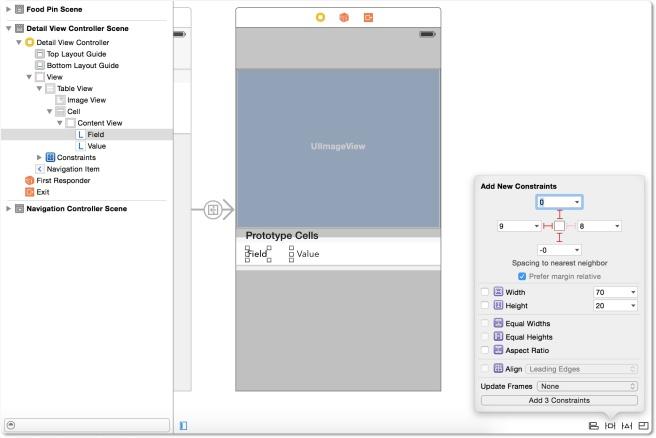 Menambahkan spacing contraints ke label Field
