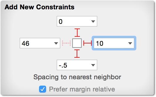 Menambahkan spacing contraints untuk atas dan bawah