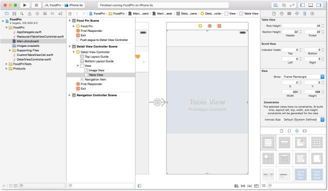 Menambahkan table view ke detail view controller