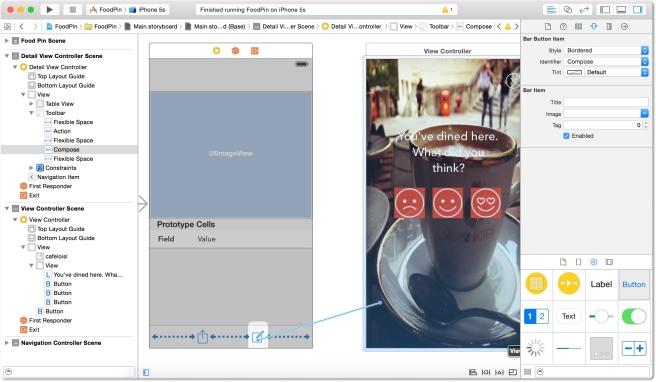 Menghubungkan tombol ubah dengan tampilan review controller menggunakan modal segue