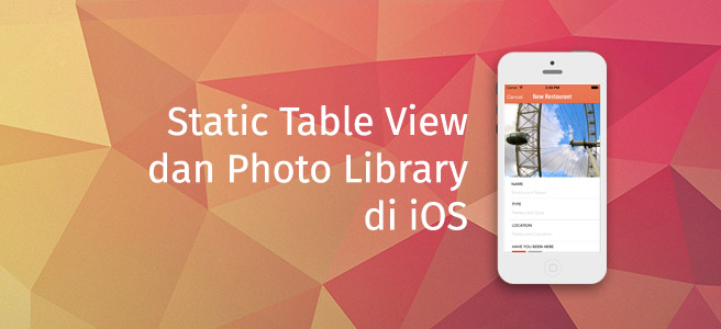 Static Table View dan Photo Library Cover