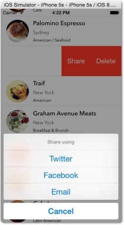 Swipe untuk tombol share