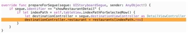 Update class RestaurantTableViewController