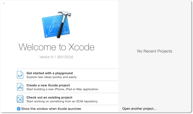 Welcome Dialog Xcode