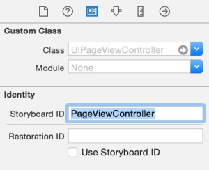 Memasang ID storyboard untuk Page View Controller