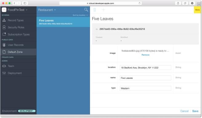Menambahkan Record baru pada CloudKit