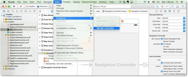 Menanamkan Navigation Controller di Tab Bar Controller