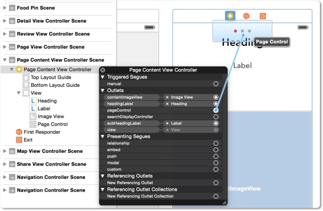 Menghubungkan outlet page control