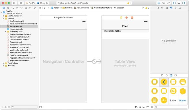 Navigation Controller dan table view controller untuk Feed