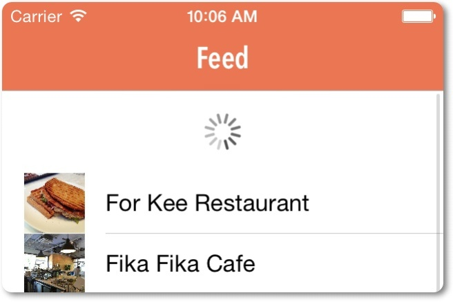 Pull-to-refresh pada aplikasi FoodPin